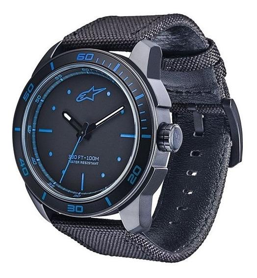 Relogio Tech 3h Preto Azul Pulseira Nailon Alpinestars