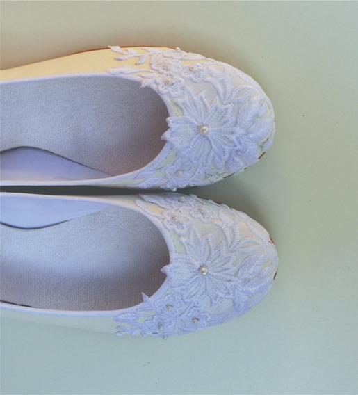 Zapatos Novia Ballerinas Chatitas Fiesta Casamiento Comunión