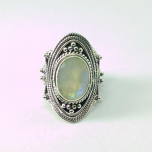 Anel Pedra Da Lua Em Prata - Id 4834