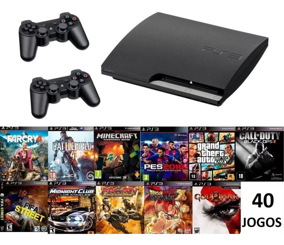 Playstation 3 Ps3 Play Usado Slim Com 40 Jogos + 2 Controles