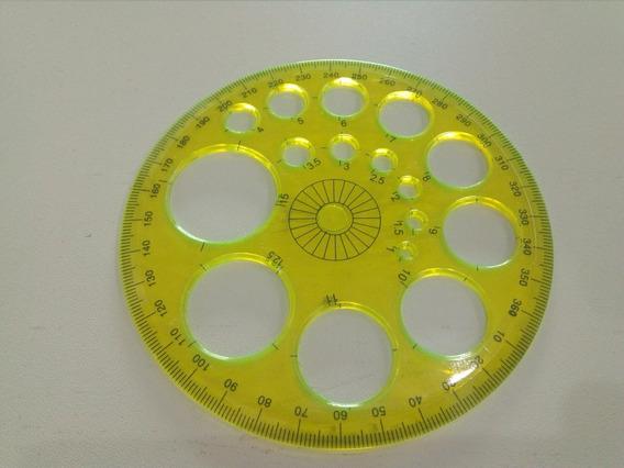 Transferidor 360° Plástico Com Vários Círculos, Cor Amarelo,
