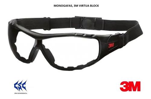 Imagen 1 de 10 de Gafa 3m Virtua Block (monogafa Antiempaño) (claras/oscuras)