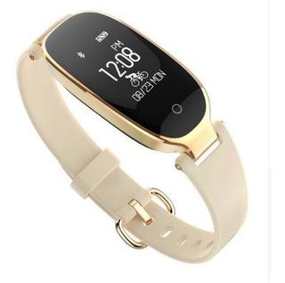 Relógio Bluetooth S3 Inteligente Feminino Smartwatch Dourado
