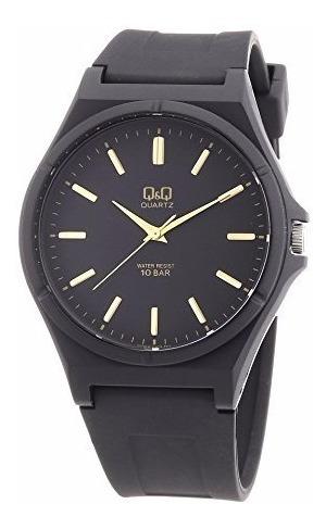 Relógio Masculino Borracha Preto Marcadores Dourados Q&q