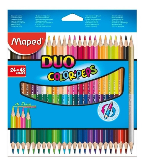 Lapices Maped Bicolor Duo Color Peps X 24 Largos 48 Colores