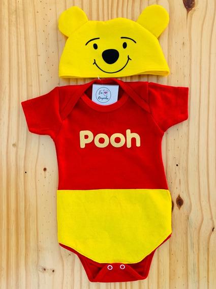 Body Ursinho Pooh Bebê Touca Mesversário Festa Fantasia
