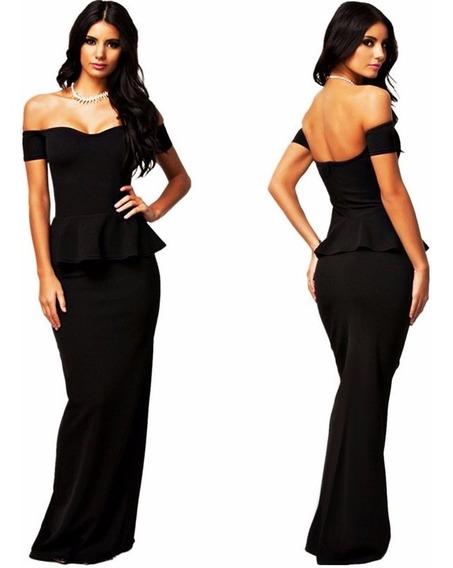 Roupas Femininas Vestido Longo Peplum Moda Feminina Social