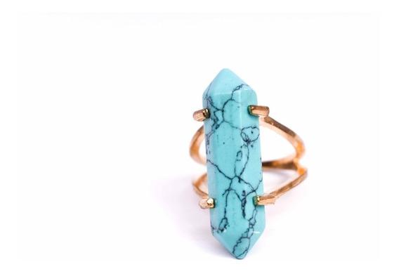Anillo Dorado Piedra Jade Agata Salir Style Envío Gratis