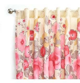 Juego Cortinas Rosas Beige Floral Elegante Vianney