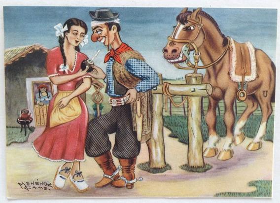 Postal Gauchesca Esta Dulce El Cimarron Menenez Came 1950