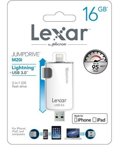 3295 Lexar Jumpdrive 16gb M20i iPhone Usb 3.0 Ljdm20i-16gbbn