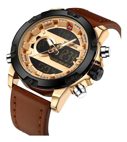 Relógio Masculino Esportivo Militar Couro Naviforce Nf9097