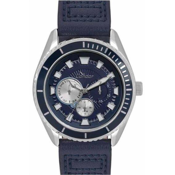 Relógio Condor Masculino Co6p29io/2a Couro Azul C/ Nfe