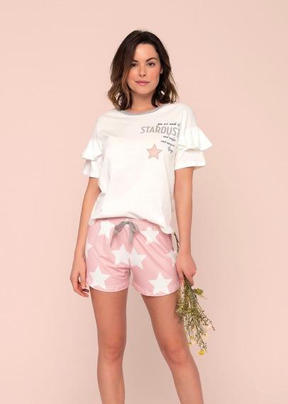 Pijama Short Doll De Estrelas Rosa E Branco Lua Luá