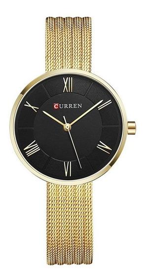 Relógio Curren Dourado Feminino Original 9020 Aço Inoxidável