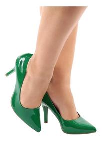 Scarpin Salto Alto Fino Verde Bandeira Verniz Bico Fino