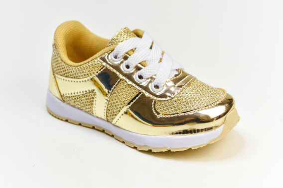 Tênis Feminino Infantil Glitter Laminado Dourado Ouro