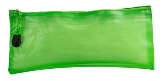 Lapicera Plástico Cierre Kolors Verde Estuchero Porta Plumas