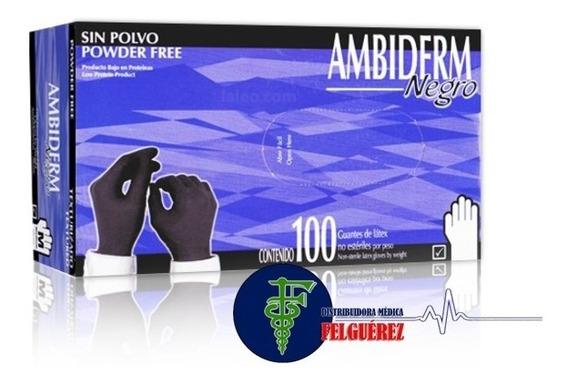 Guante De Latex Ambiderm Negro - (caja De 100 Pzs)