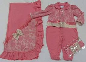 Saida Maternidade Paraiso Bebê Menina Plush Macacão Cod 7061