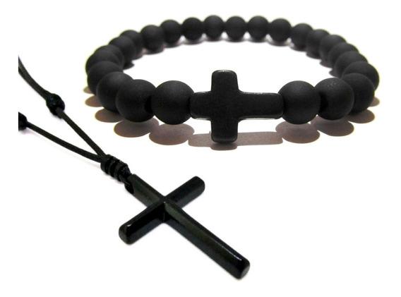 Pulseira Masculina Pedra Preta Fosca Cruz + Colar Crucifixo