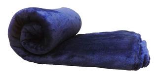Frazada Mantra Microfibra 1 plaza azul marino lisa