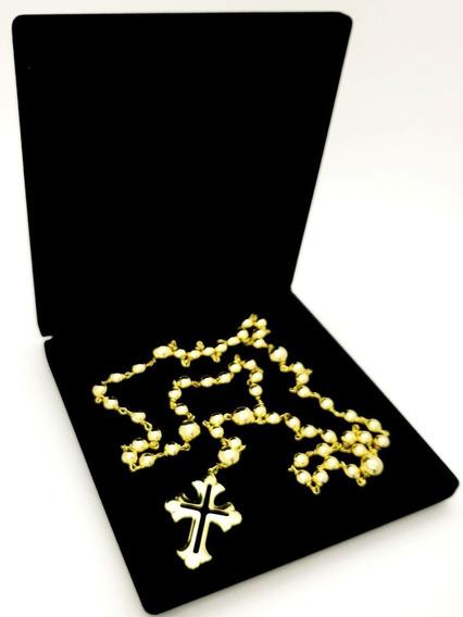 Terço Para Noiva Banho Ouro 18k Clássico Casamento Luxo 4509