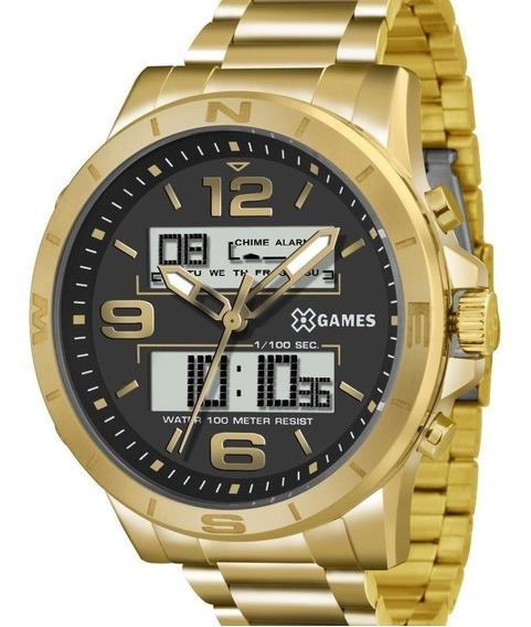 Relógio X-games Masculino Dourado Anadigi Grande Xmgsa003