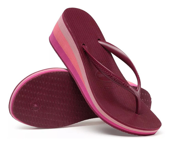 Chinelo Havaianas High Fashion Bordo Coleção 2020 Salto