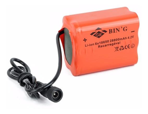 Bateria Recarregavel 6 X18650 28800 Mah 4.2v/farol Bike 6hs