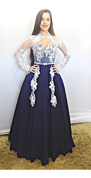 Vestido De Prenda Gaúcho Azul Recortado Debutante Pp