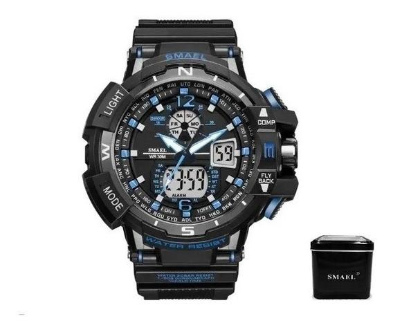 Relógio Smael 1376 Preto/azul + Caixa Smael Pronta Entrega