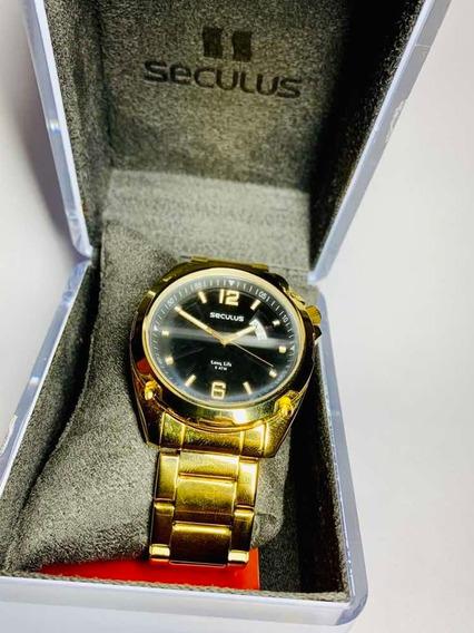 Relógio Masculino seculus Long Life 5atmdourado