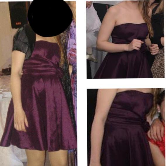 Vestido De Fiesta Strapless Violeta ,armado!