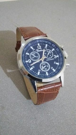Relógio Masculino Luxo Geneva Pulseira Couro Marrom Claro