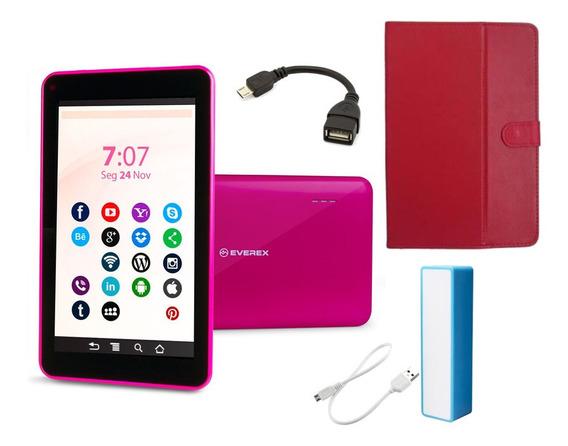 Tablet Rosa 7 Polegadas Android 8 Wifi Com Capa E Power Bank
