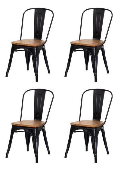 Kit 4 Cadeiras Tolix Iron Assento Madeira Aço Industrial