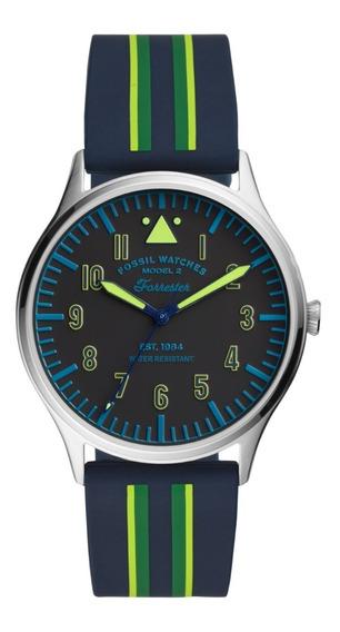 Reloj Caballero Fossil Forrester Fs5614 Color Azul Silicon