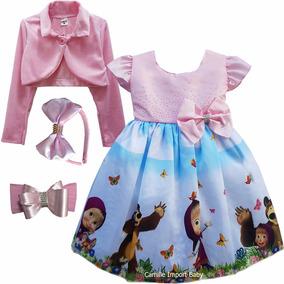 Vestido Infantil Masha E O Urso Luxo Com Tiara Bolero