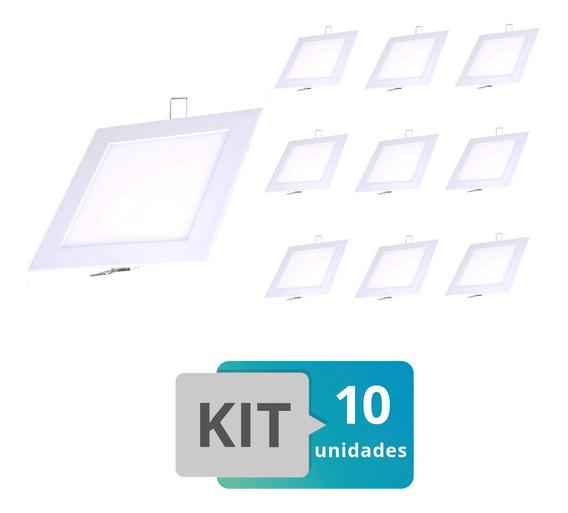 Kit 10 Painel Plafon Led Embutir Slim Quadrado 18w Brco Frio