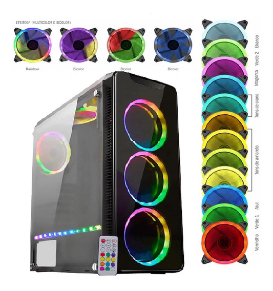 Gabinete Infinity Iv Controle+ 3cooler Frontal + 1 Fita Rgb C/nf