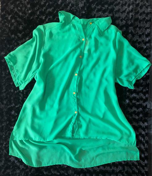 Plus Size Talles Grandes Camisa Verde Manga Corta 2xl