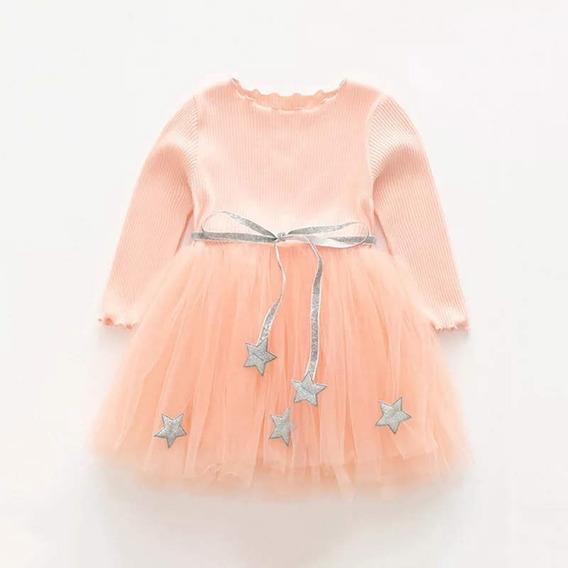 Vestido Infantil Bailarina Estrela Manga Longa Em Tule