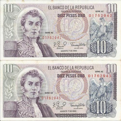 Colombia Dúo Números Consecutivos, 10 Pesos 7 Agosto 1980 Az