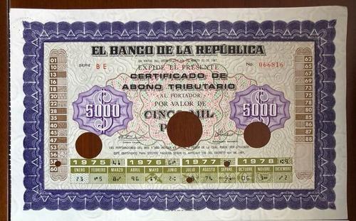 Banco De La República 5000 Y 10000 Pesos 1975-1978