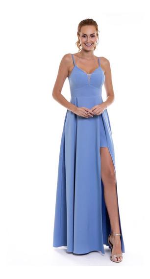 Vestido Madrinha Fenda Serenity Marsala Ou Azul Tranparência