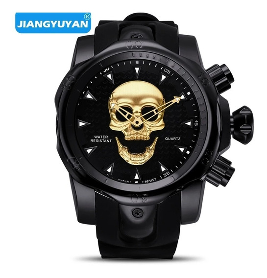 Relógio Skull Stell Black Youang + Brinde + Caixa