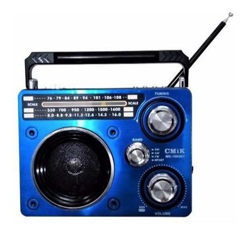 Rádio Portátil Mp3 Usb Cartão Sd Pen Drive Amfm Mk-1065 Cmik