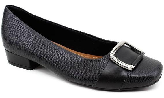 Sapato Feminino Usaflex Ac6005 Couro Lezard Preto
