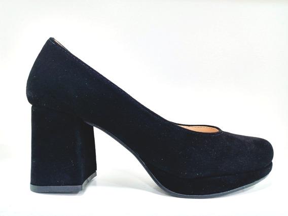 Zapatos Taco Bajo Mujer Stiletto Clasicos Gamuza Eco Cuero